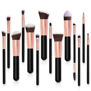 14Pcs Makeup Brush Set Wooden Handle Black Gold Tube Eye Blooming Outline Tool To Create A Refined Look Make up beauty tools