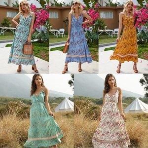 Nouvelles robes d'été pour femmes Boho Floral longue Maxi Dress col en V Bohème Floral Split robe Summer Beach Sundress-XL
