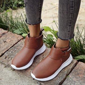 TINO KINO nuevo de las mujeres cargadores del tobillo de la primavera damas, con cremallera PU Zapatos Lazo cruzado plataforma plana Mujer hebilla Botas Casual Mujer