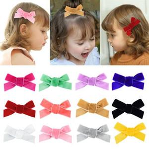 12 cores baby girl acessórios para o cabelo moda estilo lolita cores sólidas de veludo bow presilhas menina infantil acessórios para o cabelo headband