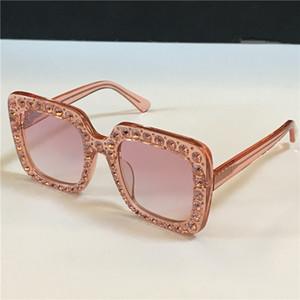 novo design de moda óculos de sol 0148 moldura quadrada com diamante de verão estilo popular uv óculos de proteção para 400 mulheres