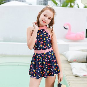 lYMhV Children's swimsuit girls middle and large children's one-piece Boxer pants jumpsuit skirt dress princess dress floral sunscreen stude
