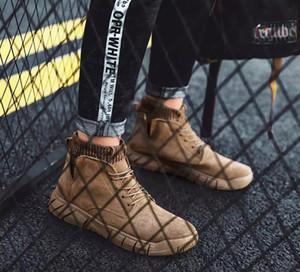 2020 Fly hombres Botas de patchwork de punto de tobillo botas de invierno al aire libre botas de Martin Brown tamaño 40-44 zapatillas de deporte negras