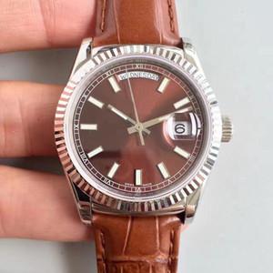 Relógios de luxo DAYDATE dois estilos 36 MM caso de prata movimento automático de alta qualidade pulseira de couro de safira promoção esportes dos homens relógio de pulso