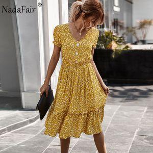 Nadafair Boho Print Summer Beach Dresses Casual Short Sleeve V Neck A-Line Floral Midi Dresses Women