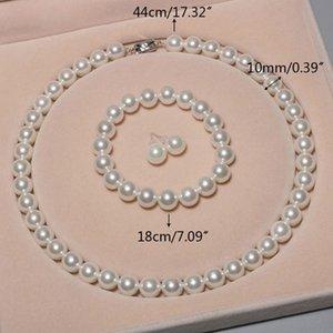Água doce Cultured Pearl Necklace Set 925 U90E Brinco Pulseira Mulheres de jóias