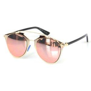 Toptan-Klasik Pembe Altın Ayna Güneş Moda Marka Tasarımcı Kadınlar Veya Erkekler UV400 Gerçek Güneş Gözlükleri Kadın Gözlük Outdoor YANSIDI