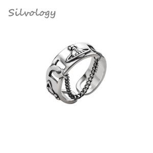 Silvology 925 chaîne Sterling Saturn Argent Vintage Weave Texture Nouveaux anneaux ouverts pour les femmes 2019 été Bijoux cadeau Y200321