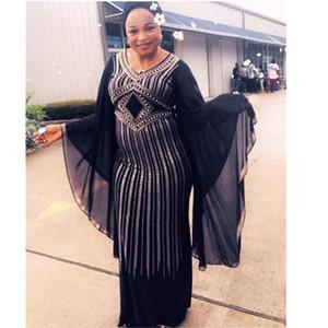 African Dresses for Women Dashiki Diamond African Clothes Bazin Broder Riche Sexy Slim Ruffle Sleeve Evening Long Africa Dress
