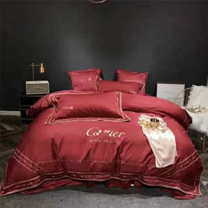 Rouge Broderie Literie Costume Ca Dot Stripe Fashion Designer Simple 4PCS chambrettes Sheet New Literie de mariage Sets Couverture