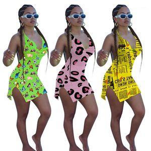 Пляж платье женщины V шея вскользь Женщины Одежда Мода Halterneck Женщина Bodycon платье Sexy 3D печать