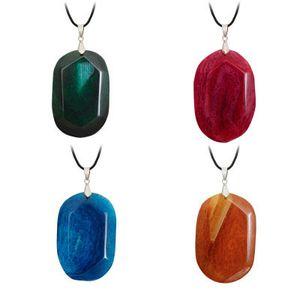Colar Pedra Natural Ágata Oval Pendant frente e verso colar de cristal Raw Angle Pedra Exquisite dom pendant