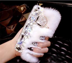 Luxo Rabbit Fur Diamante Fox Strass Caso de Telefone Celular Para xiaomi redmi 5a 5x6 por nota MIX2 2S MAX 2 5 5S mais 8 8SE Capa