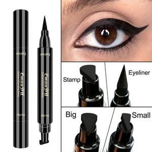 Select CmaaDu Kanat Damga Eyeliner su geçirmez Çift Kafa Makyaj Eyeliner Damga Büyük ve Küçük İki Boyutu