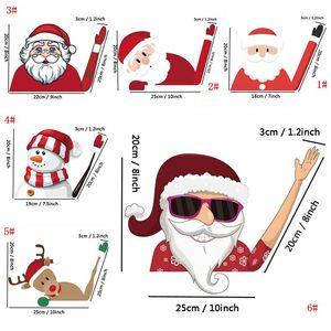 Noel Dekorasyon Çıkarılabilir Araç Plakası 3D Yaratıcı Karikatür Noel Baba Oto Arka Cam Araç Cam Silecek Decal Sticker M.Ö. VT1193