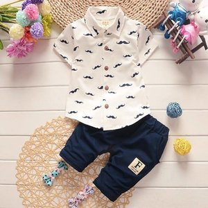 2019 Baby Boys Clothes Suits Gentleman Kids Lovely Beard Lapel Shirt+Pants 2 Pcs Infant Casual Suits Korean Children Clothing Set Sets