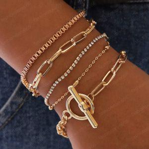 Ювелирные изделия Горячие моды MultiLayer браслет пряжки Rhinestone шариков Геометрическая Hollowed цепь браслет