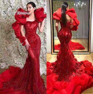 Rouge Africain Arabie Saoudite Porter Robe De Bal Sirène De Célébrité 2020 Maxi Robe En Satin Robe de gala Élégant Longue Soirée Robe De Fête Formelle