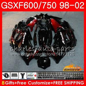 SUZUKI KATANA Için Vücut GSXF 750 600 GSXF600 98 99 00 01 02 2HC.12 GSX750F GSX600F GSXF750 1998 1999 2000 2001 2002 Kırmızı alevler