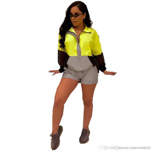 Для женщин 2pcs Дизайнерские костюмы Женщины 3M Reflective Tracksuit способа женщин с длинным рукавом пальто Короткие штаны Спортивные наборы