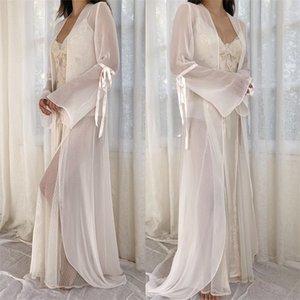 Два куска сексуальные свадебные халаты шифон спагетти ремешок аппликационные кружева Смотреть сквозь сексуальное ночное платье для женщин длину протяженностью промежуточных новейших