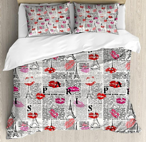 Paris Duvet Cover Set Sexy Lipstick Kiss with Tourist Attraction Tower Sketch Newspaper Looking Background Bedding Set