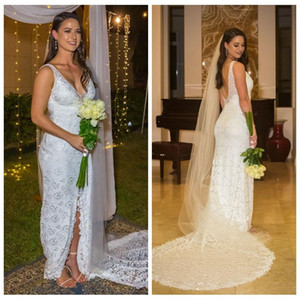 2020 Charme Robes de Mariée V-cou gaine Robes de mariée haut de Split replongeant vestito da sposa