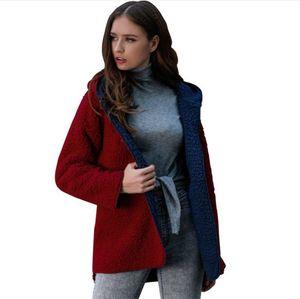 Tasarımcı Peluş Polar Ceketler Sonbahar Uzun Kol Kapşonlu Dış Giyim Casual Bayan Kabanlar Womens