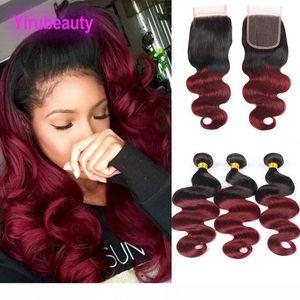 K малазийской человеческих волос 1b 99j Цвет тело Wave 3 Связки С 4x4 Lace Closure с ребенком утки волос 12 -24inch 1b 99j Twotone