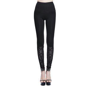 Pantaloni donne bell-bottom leggings di pizzo poliestere svasato Stretch Leggings Slim Fit pantaloni neri
