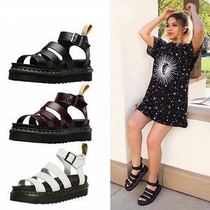 Сандалии на толстом каблуке для женщин сандалии на платформе резиновая подошва коровья кожа сандалии мода черный бордовый пряжка обувь для лета ct1