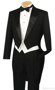 Fit Slim Black Lapel Groom Mens Suits With Tail Coat Formal Party Custom Made Top Quality Wedding Tuxedos