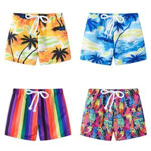 Pantalones niños Pantalones cortos de la playa del traje de baño del niño del árbol de coco rayado Bañadores para niños cortocircuitos del tablero niñas floral cortocircuitos Hawai Sandy Beach 060327