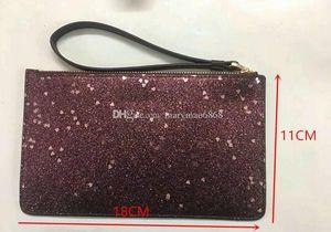 NEW shining glitter sparkle coin purses designer Women Wallets Wristlet stars brand designer clutch bags zipper pu design luxury bag factory