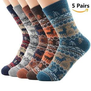 Noel 5 Çiftler Erkekler Kadınlar Kış Çorap Yumuşak Kaşmir Çorap Yün Çorap Kış Termal Çorap Yün nefes Isınma Isınma