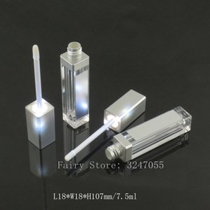 10 30 50pcs 7.5ml Empty Makeup DIY Lip Gloss Bottle Black silver Square Lipgloss Tube with LED Light Mirror Labial Glair Bottle