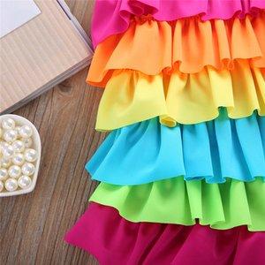 Hot Girls Kids Swimwear Tankini 2020 New Rainbow Ruffle Layered One-piece Swimsuit Beachwear Swimmable Swimwear Costume Children