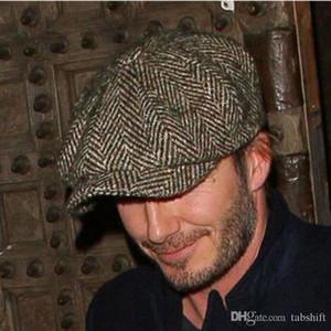 Moda erkek sonbahar kış sekizgen kap newsboy kap bere erkek kap gelgit erkek rahat ön şapka