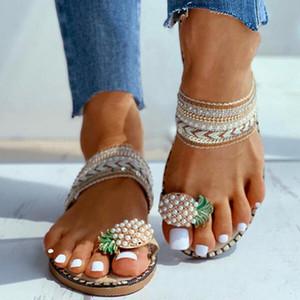 Sagace Mujeres Pisos zapatillas tirón del verano de los zapatos ocasionales de los fracasos Flores Perla Mujer planas 35-40 cómodas sandalias de playa femenino A525