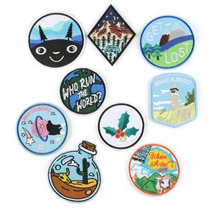 Mountain Forest Tree Lost Blue Sky Embroidery Patches Sew Iron On Applique Repair DIY Badge Patch For Kids Clothes Jacket Bag Garment
