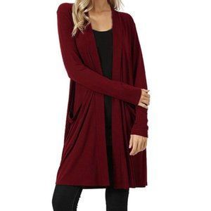 New Fashion High Quality Womens Open Front  Away Cardigan Sweater Long Sleeve Plus Pockets Loose Drape Drop Shipping