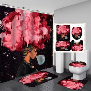 아프리카 핑크 머리 여성 직물 샤워 Cutain 욕실 Cutains 패션 아프리카 소녀 미끄럼 방지 매트 화장실 뚜껑 커버 목욕 매트 세트