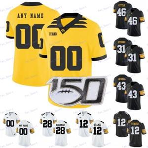 Personalizzato Iowa Hawkeyes 2019 New Gold Bianco Nero qualsiasi numero nome Calcio 4 Nate Stanley 94 AJ Epenesa 1 Marshall Koehn 12 Ricky Stanzi Maglia