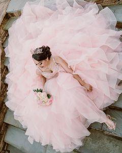 Luxury Beaded Ball Gown Quinceanera Dresses 2020 Spaghetti Straps Cascading Ruffles Organza Vestidos De Novia Lace Up Back Bride Party Dress