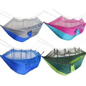 Amaca Mosquito Net 12 colori 260 * 140cm Paracadute da esterno in tessuto da campeggio Tenda da campeggio da giardino altalena appesa letto C6235