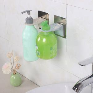 Stainless Steel Wall-Mounted Soap Dispenser Bracket Self-Adhesive Free Punching Shampoo Hook Shower Gel Rack