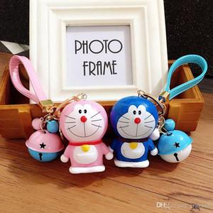 Cute dibujos animados 30 tipos Doraemon muñeca llavero cuerda de cuero Key Holder Metal Bell llavero llavero Charm Bag Auto colgante regalos