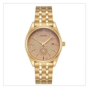 De alta qualidade fazer você moda classifica mens banda de aço de quartzo calendário à prova d 'água relógio cx-069 ouro ipg rosto branco