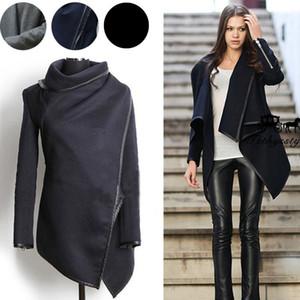 Otoño Invierno Abrigos largos de cachemir Mujeres 2019 Moda europea y americana Slim Blazer Neck Long Wool Windbreaker Ropa Abrigos para mujeres
