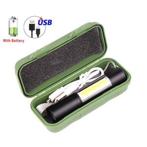 New COB LED lanterna recarregável USB Torch LED Zoom Tocha Handy poderosa lanterna Super com Built-in bateria Cabo USB
